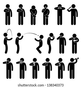 Man People Eating Tasting Food and Drink Stick Figure Pictogram Icon