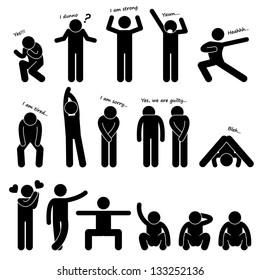 Man People Person Basic Body Language Posture Stick Figure Pictogram Icon