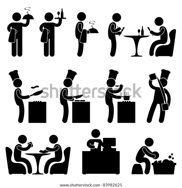 Man People Restaurant Waiter Chef Customer Icon Symbol Pictogram