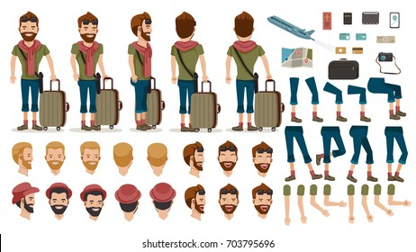 Man People Travel tourists  creation set.animated character.at airport. Icons with different types of faces and hair style, emotions, front, rear, side view of male person. Moving arms, legs.Isolated