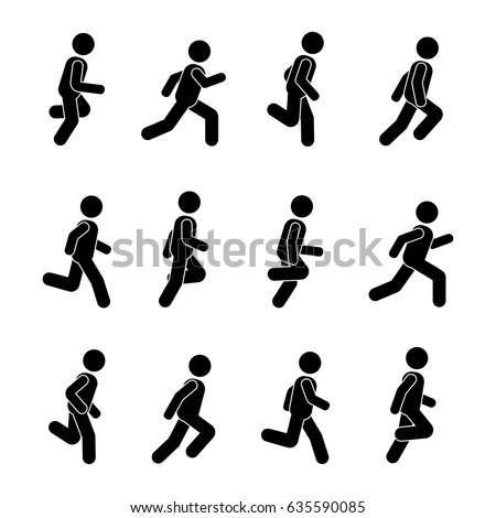 man people various running position posture のベクター画像素材