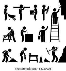 Man People Working Construction Carrying Building Industry Painting Sawing Hard Labor Pictogram Icon Symbol Sign