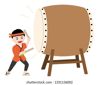 Man performing traditional big taiko drum, vector illustration.