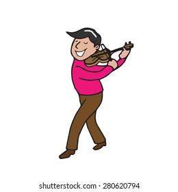 Man performing violin cartoon vector