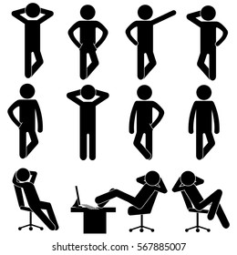 Man / Person / Businessman Basic Body Language Posture Pictogram Icon Vector