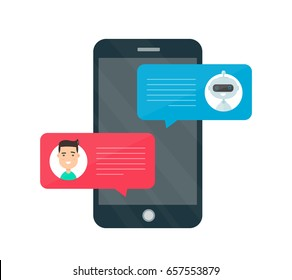 Man person chatting on cellphone with chat bot robot.Vector modern style cartoon character illustration avatar icon design.Chat messages chatbot notification on smartphone.Isolated on white background