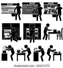Man / Person Purchasing Products and Cooking Dinner. Stick Figure Pictogram Icon