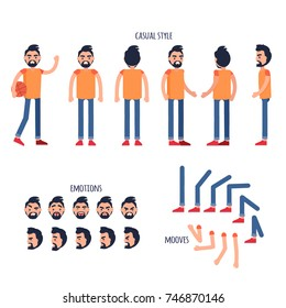 Man personage generator with smiling male figure from different sizes view in casual clothing, positive and negative emotions on face set, hands and legs moves isolated flat vector illustration
