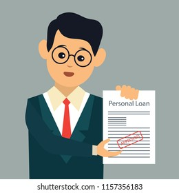 man with personal loan form approved for loan application concept. vector illustration