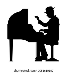 The man with the piano silhouette vector