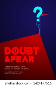 Man pictogram and question mark open the door to dark room, Doubt and Fear Psychology problem concept poster and banner design illustration isolated on blue background, with space