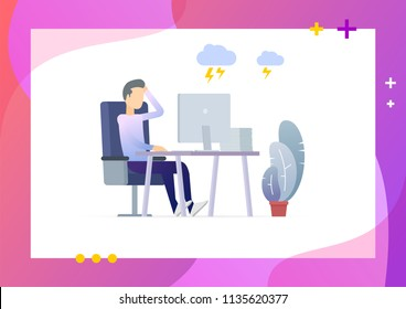 Man in pile of office papers scratching head. Stress at work. Over time and overworked. Conceptual Modern and Trendy colorful illustration for landing page. Web template.