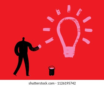 Man with Pink Paint draws Lightbulb, Big idea concept, creativity, imagination, Arty people, Brush Stroke texture, Electricity, Strategy, Brain wave, Inspiration, Discovery, Learning, Innovator, Paint