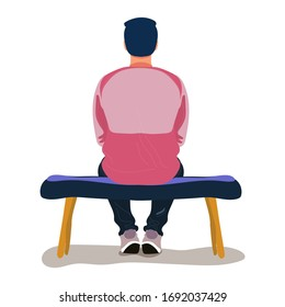 Man in pink t-shirt and dark blue pants sits on a bench. Back view. Vector cute stock illustration in flat cartoon character style isolated on white background.