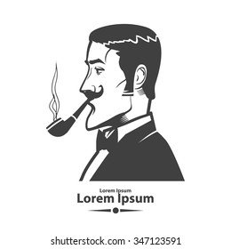 man with pipe, logo for pipe club. simple illustration, gentleman smoking