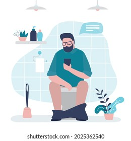Man pissing or pooping in toilet. Handsome guy use smartphone and chatting with friends in lavatory. Male character surfing social networks while sitting on toilet bowl. Restroom interior. Flat vector