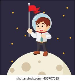 Man planting flag on moon