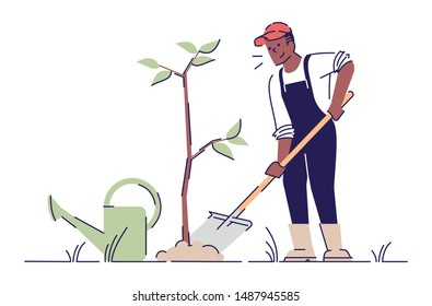 Man planting tree flat vector character. African american farmer gardening cartoon illustration with outline. Growing park, spring works concept. Volunteer, gardener planting sapling with shovel