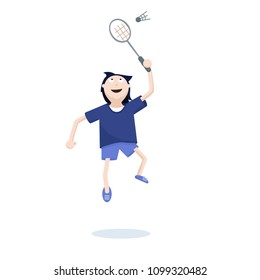 Man play Badminton. Sport style Cartoon Character