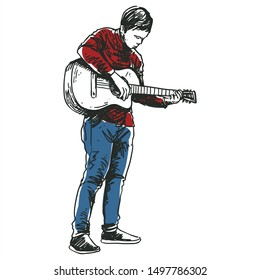 a man play classic guitar sketch line art style drawing color