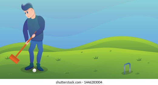 Man play croquet concept banner. Cartoon illustration of man play croquet vector concept banner for web design