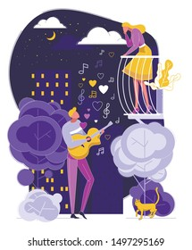 Man Play Guitar Sing Song to Woman on Balcony Vector Illustration. Male Guitarist Serenade at Moonlight. Night City Street. Girl Listen Music. Couple Love Relationship, Romantic Evening Date