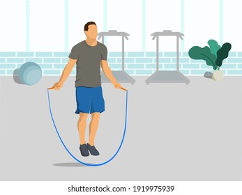 Man play sports in the gym. Sport jumping rope. Concept of exercise, health care in the hom