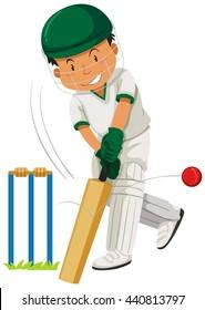 Man player playing cricket illustration