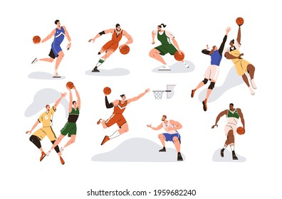 Man players playing basketball with orange ball, throwing it to net basket, dribbling, dunking and jumping during sports game. Set of athletes. Colored flat vector illustration isolated on white