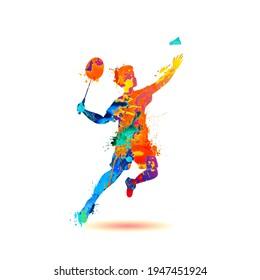 Man playing badminton silhouette vector icon of splash paint