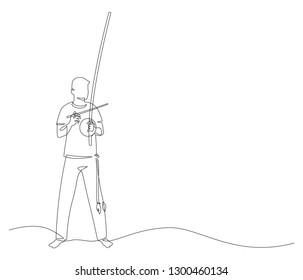 Man playing at berimbau. Capoeira fighter contour Isolated on white. vector illustration