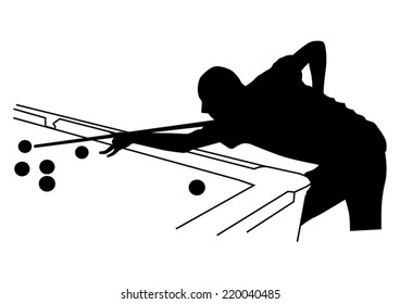 Man playing in the billiards silhouette