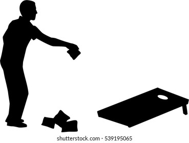 Man playing Cornhole game silhouette