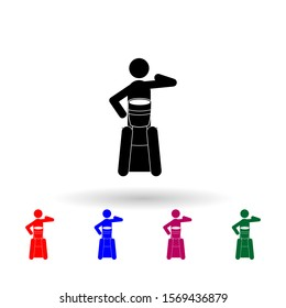 Man playing djembe multi color icon. Simple glyph, flat vector of music icons for ui and ux, website or mobile application