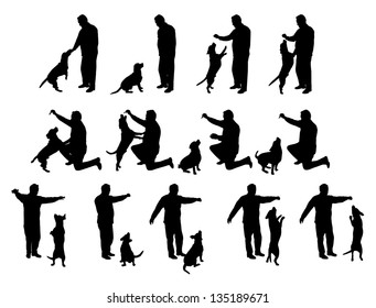 man playing with a dog vector silhouettes, black and white