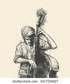 Man playing double bass. Concept for jazz festival poster. Hand drawn vector illustration.
