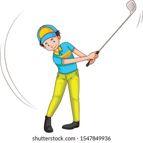 Man playing golf with golf club cartoon vector art and illustration