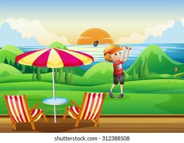 Man playing golf on green illustration