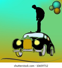 Man playing golf on the top of a car
