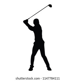 Man playing golf, silhouette.