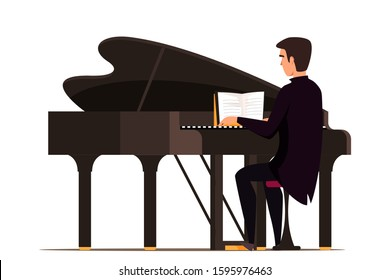 Man playing grand piano flat vector illustration. Male musician with keyboard musical instrument cartoon character isolated on white background. Live music concert. Pianist sitting at piano