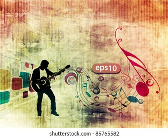 man playing guitar in grunge texture background.