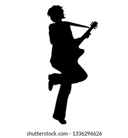 Man playing guitar. Silhouette on white background. Vector illustration