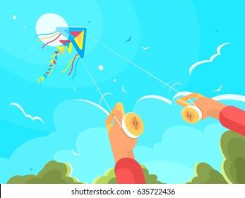 Man playing with kite