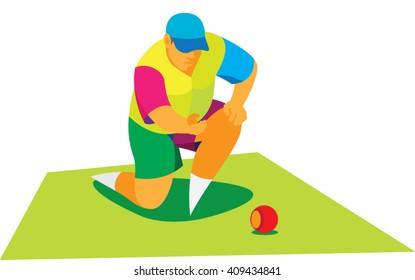 Man playing lawn bowls