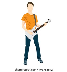 Man playing music on the guitar, silhouette, flat icon, standing, blue and yellow color, isolated on white background