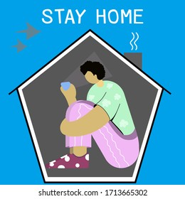 man playing phone at home,Keeping social distance during the coronavirus epidemic,Makes you feel uncomfortable wanting to go out.banner word stay home,on blue background.Concept vector illustration.