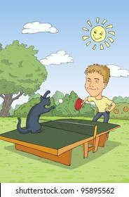 Man playing ping pong with a blue cat