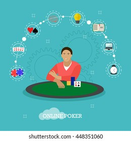 Man playing poker on a table. People in casino concept vector illustration in flat style. Online card game design elements and icons. Cards, chips.