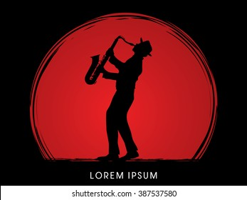 Man playing saxophone, designed on sunset background graphic vector.
